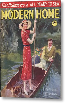 Modern Home 1930s Uk   Punting Boats Metal Print by The Advertising Archives