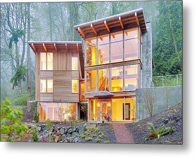 Modern Home In Woods Metal Print by Will Austin