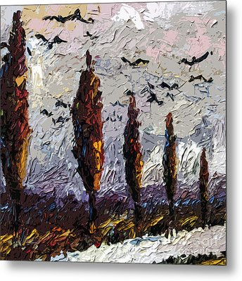 Modern Italian Landscape Trees Paintings Triptych Abstract Mixed Media Art Metal Print by Ginette Callaway