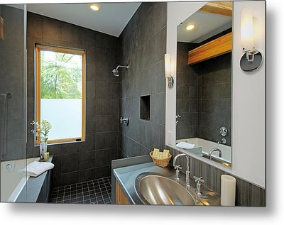 Modern Shower And Sink Metal Print by Will Austin