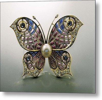 Modernist Pin, Butterfly-shaped. Enamel Metal Print by Everett