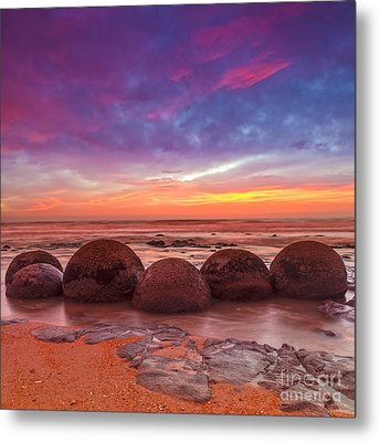 Moeraki Boulders Otago New Zealand Metal Print by Colin and Linda McKie