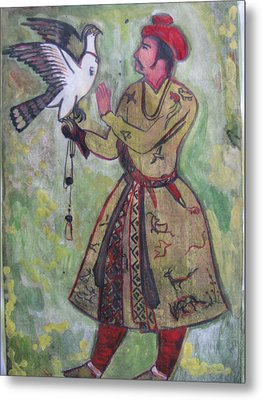 Metal Print featuring the painting Moghul With Eagle by Vikram Singh
