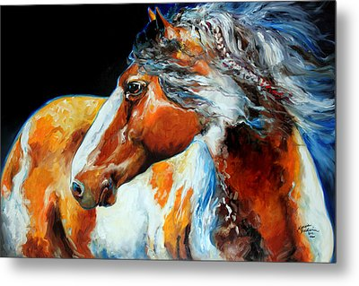 Mohican The Indian War Pony Metal Print by Marcia Baldwin