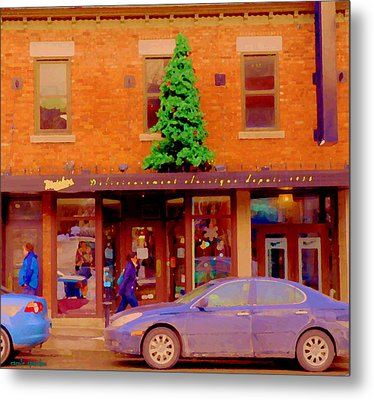Moishes On The Main At Christmas Time Montreal Restaurant Winter City Scene Art Carole Spandau Metal Print by Carole Spandau