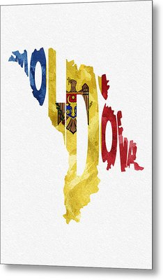Moldova Typographic Map Flag Metal Print by Ayse Deniz