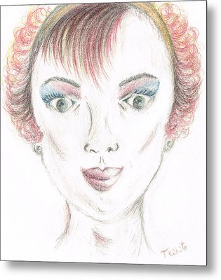 Metal Print featuring the drawing Mollys Makeover/ Pink Day by Teresa White