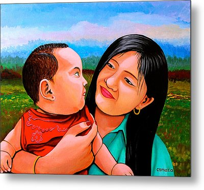 Mom And Babe Metal Print by Cyril Maza
