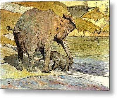Mom And Cub Elephants Having A Bath Metal Print by Juan  Bosco