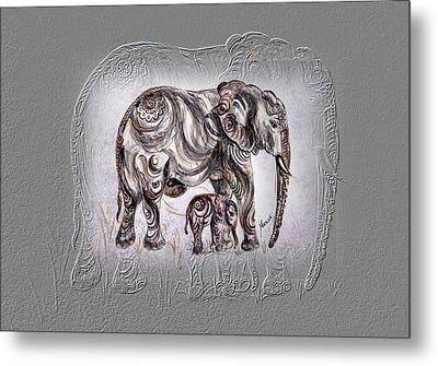 Mom Elephant Metal Print by Harsh Malik