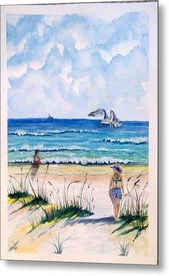 Mom Son Beach Metal Print by Richard Benson