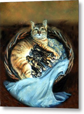 Mom With Her Kittens Metal Print by Donna Tucker
