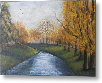 Metal Print featuring the painting Moment Of Silence Avon River Christchurch by Jane  See