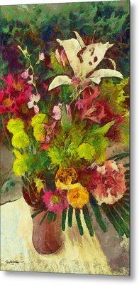 Metal Print featuring the digital art Mom's Flowers by Spyder Webb