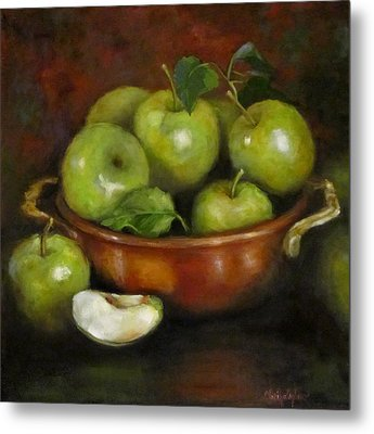 Metal Print featuring the painting Mom's Last Apple Harvest by Cheri Wollenberg