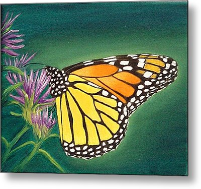 Metal Print featuring the painting Monarch And Liatris by Fran Brooks