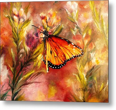 Metal Print featuring the painting Monarch Beauty by Karen Kennedy Chatham