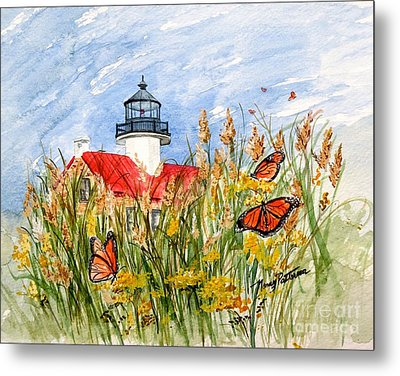 Monarch Butterflies At East Point Light Metal Print