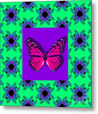Monarch Butterfly Abstract Window 20130203p148 Metal Print by Wingsdomain Art and Photography