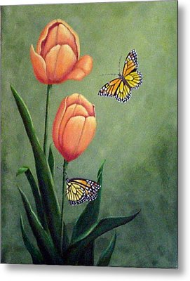 Monarchs And Golden Tulips Metal Print by Fran Brooks