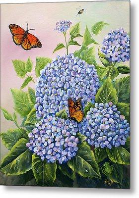 Monarchs And Hydrangeas Metal Print by Gail Butler