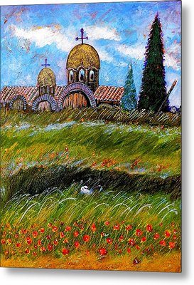 Monastery In Greece Metal Print by Ion vincent DAnu