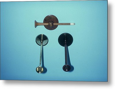 Monaural Stethoscopes Metal Print by Science Photo Library