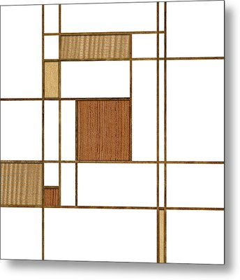 Mondrian In Wood Metal Print