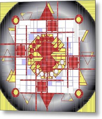 Mondrian Plaid Fx Metal Print by Mario Carini