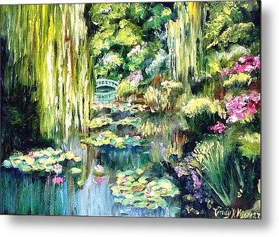 Monet's Garden Metal Print by Cindy Morgan