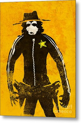 Monkey Sheriff Metal Print by Pixel Chimp