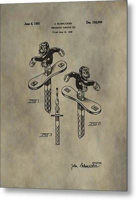 Monkey Toy Patent Metal Print by Dan Sproul