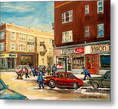 Monkland Street Hockey Game Montreal Urban Scene Metal Print by Carole Spandau