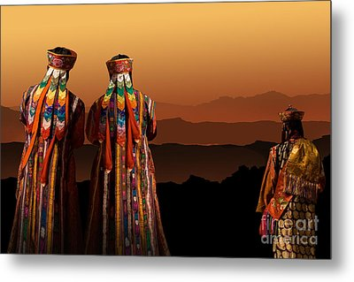 Monks From Bhutan Metal Print by Angelika Drake