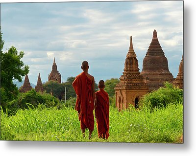 Monks With Ancient Temples And Pagodas Metal Print