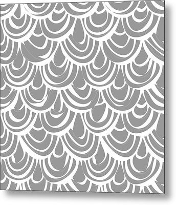 Monochrome Scallop Scales Metal Print by Sharon Turner