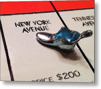 Monopoly Board Custom Painting New York Avenue Metal Print by Tony Rubino