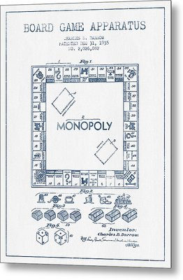 Monopoly Patent From 1935 - Blue Ink Metal Print