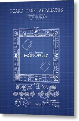Monopoly Patent From 1935 - Blueprint Metal Print