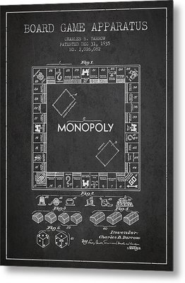 Monopoly Patent From 1935 - Dark Metal Print