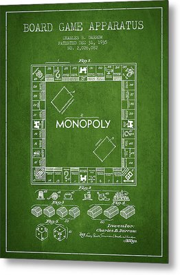 Monopoly Patent From 1935 - Green Metal Print