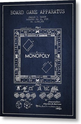 Monopoly Patent From 1935 - Navy Blue Metal Print