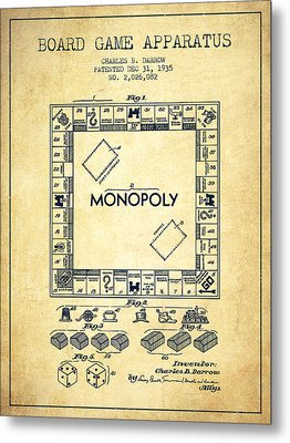 Monopoly Patent From 1935 - Vintage Metal Print