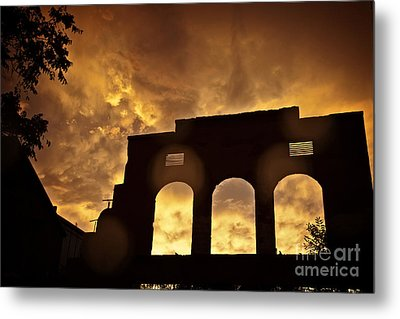 Monsoon Clouds And The La Victoria In Jerome Az Metal Print by Ron Chilston