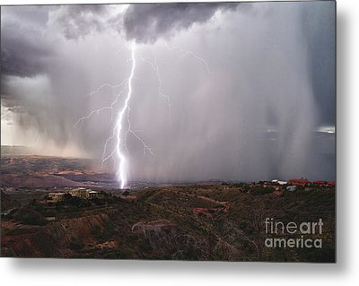 Metal Print featuring the photograph Monsoon Lightning Hits Clarkdale Arizona As Seen From Jerome by Ron Chilston