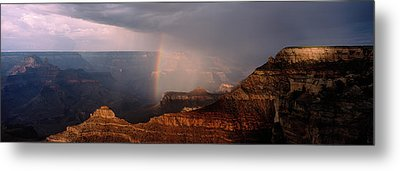 Monsoon Storm With Rainbow Passing Metal Print
