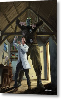 Monster In Victorian Science Laboratory Metal Print by Martin Davey