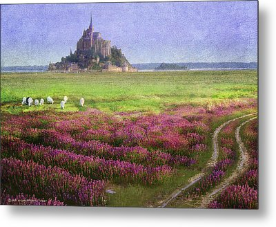 Mont St. Michel Flowers And Grazing Sheep Metal Print