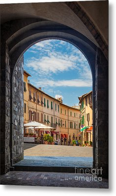 Montalcino Loggia Metal Print by Inge Johnsson