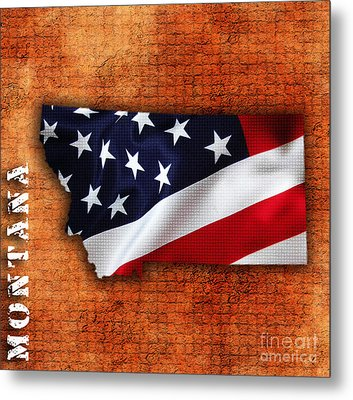 Montana American Flag State Map Metal Print by Marvin Blaine